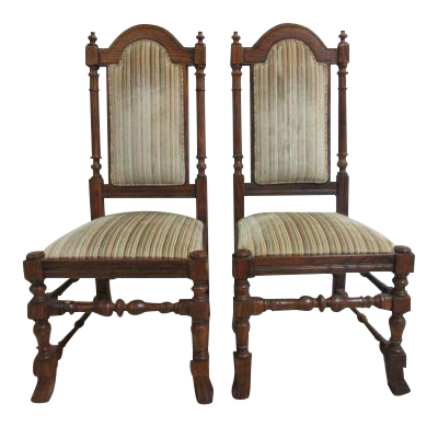 Ethan Allen Royal Charter Oak Jacobean Dining Chairs A Pair Chairish