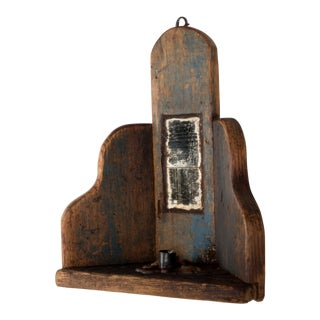 Primitive New England Mirror Inlaid Candle Holder For Sale