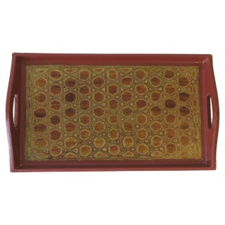 Terracotta and Black Lacquer Tray For Sale