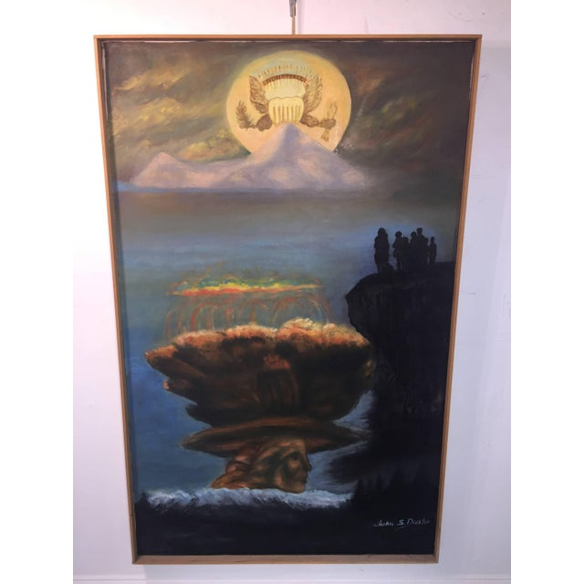 Modern symbolic oil painting depicting the American eagle symbol with the banner of world peace above it shown as the sun...