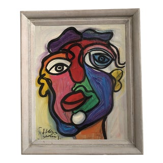 Signed Peter Keil Face in Wood Frame For Sale