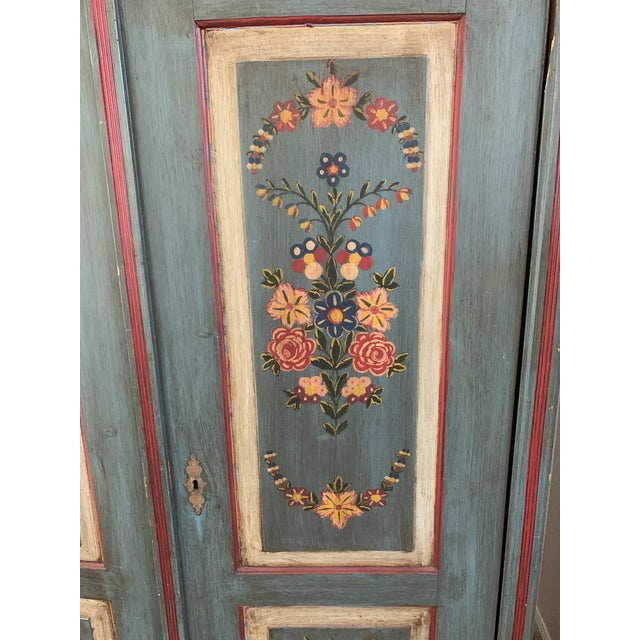 Farmhouse Antique Vintage Hand Painted 19th Century Armoire For Sale - Image 3 of 13