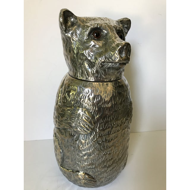 Italian Italian Silver Plated Bear Wine Cooler For Sale - Image 3 of 12