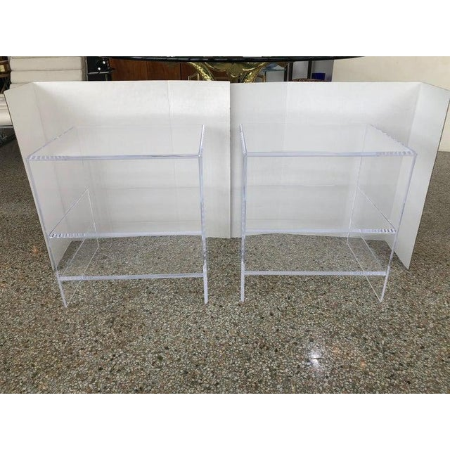 2010s Floor Sample Lucite Nightstands Beveled Top Edges the Pair - Night Stands For Sale - Image 5 of 10