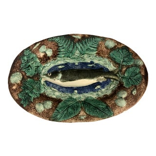 19th Century French Palissy Ware Fish Platter, Signed Francois Maurice, C.1885 For Sale
