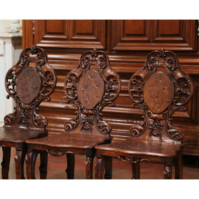 French Set of Four 19th Century French Black Forest Carved Walnut Chairs For Sale - Image 3 of 13