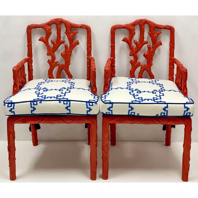 Carved Italian Red Faux Bois Jim Thompson Blue & White Linen Arm Chairs - a Pair For Sale - Image 9 of 9