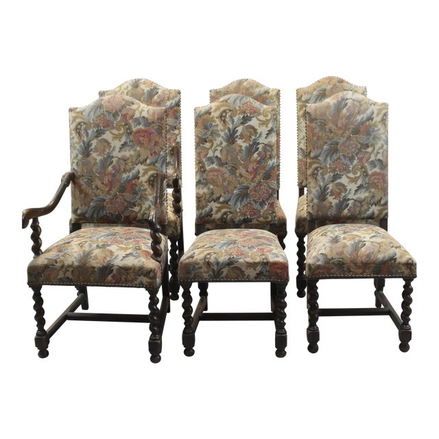 6034301de71df Set of 6 French Dining Chairs With Turned Wood (4 Sides   2 Armchairs). Set  of six French tapestry upholstered ...
