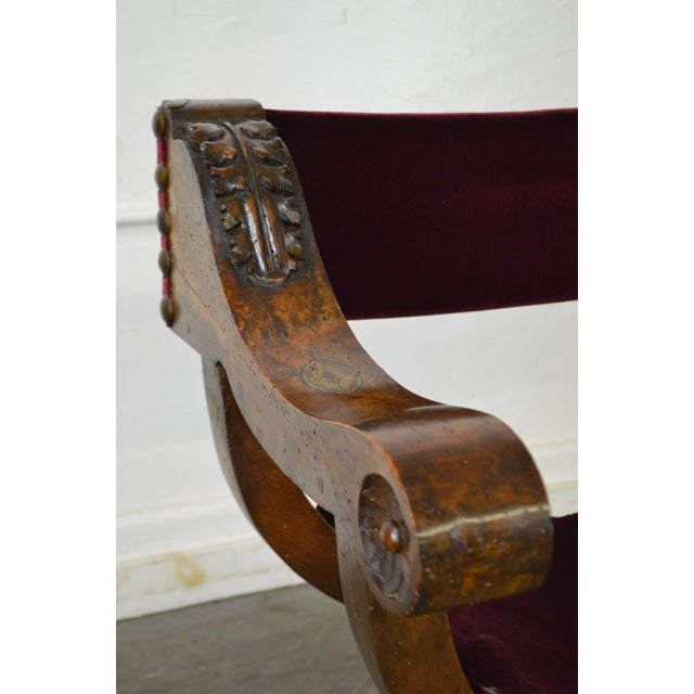 Antique 18th Century Italian Walnut X Form Savonarola Arm Chair - Image 6 of 10