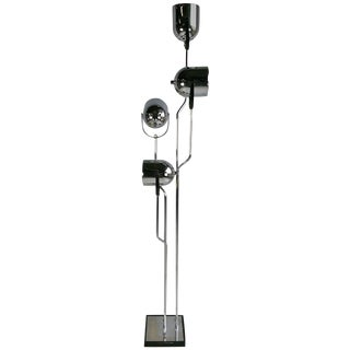 Reggiani 4 Head Chrome and Black Floor Lamp Pop '60s For Sale