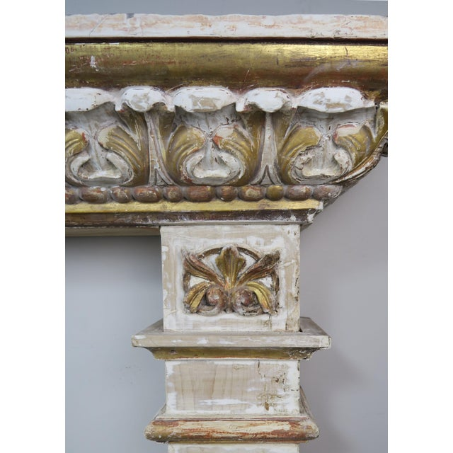 19th Century Italian Painted and Parcel Gilt Fireplace Mantel For Sale - Image 11 of 13