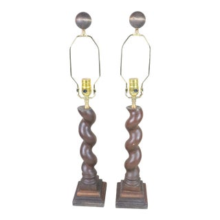 Antique Architectural Fragment Barley Twist Lamps - a Pair For Sale
