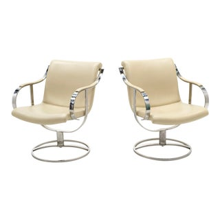 White Leather & Stainless Steel Swivel Chairs by Gardner Leaver- A Pair For Sale