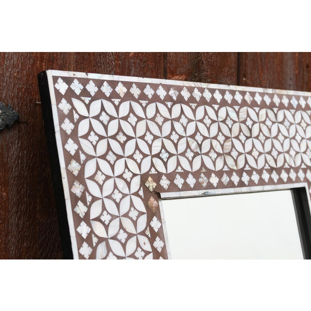 1980s Exquisite Geometric Inlaid Square Mirror For Sale - Image 5 of 7