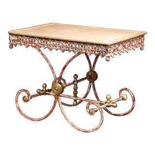 Painted French Iron Butcher or Pastry Table With Marble Top and Brass Mounts For Sale