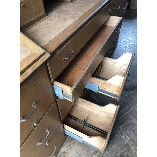 Wood Antique Bankers File Cabinet Drawer Unit For Sale - Image 7 of 11