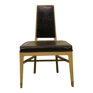 Late 20th Century Vintage White of Mebane Black Naugahyde and Pewter Dining Side Chair For Sale