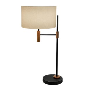 Satin Black and Walnut Table Lamp For Sale