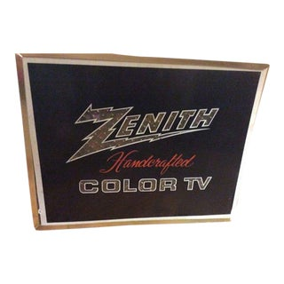 1968 Vintage Mid Century Zenith Television Tv Light Up Lighted Advertising Sign