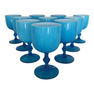Mid-Century Modern Italian Carlo Moretti Blue Glasses - Set of 10 For Sale