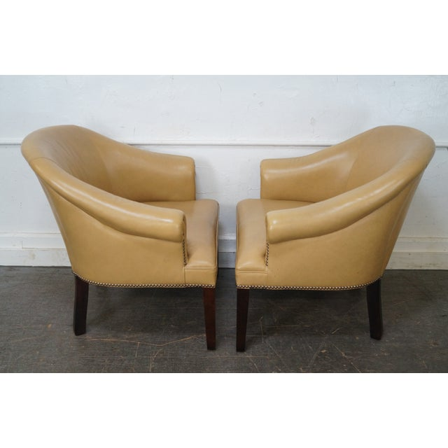 Traditional Barrel Back Leather Club Chairs - A Pair For Sale - Image 3 of 10