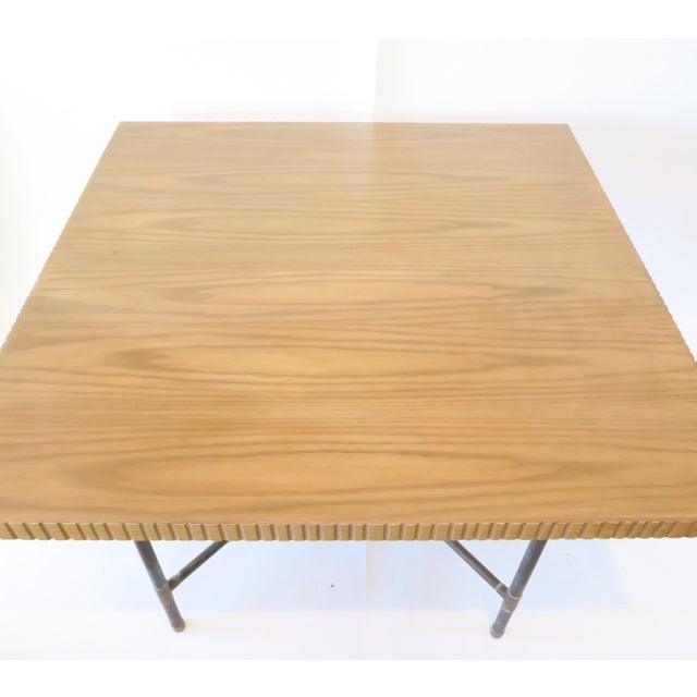 Pipe Table With Chisled Edge Wood Top - Image 3 of 6