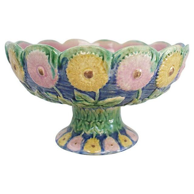 Ceramic 19th C. Majolica Pottery Pedestal Bowl For Sale - Image 7 of 7