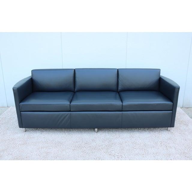 Modern Bernhardt Black Leather 3 Seater Sofa