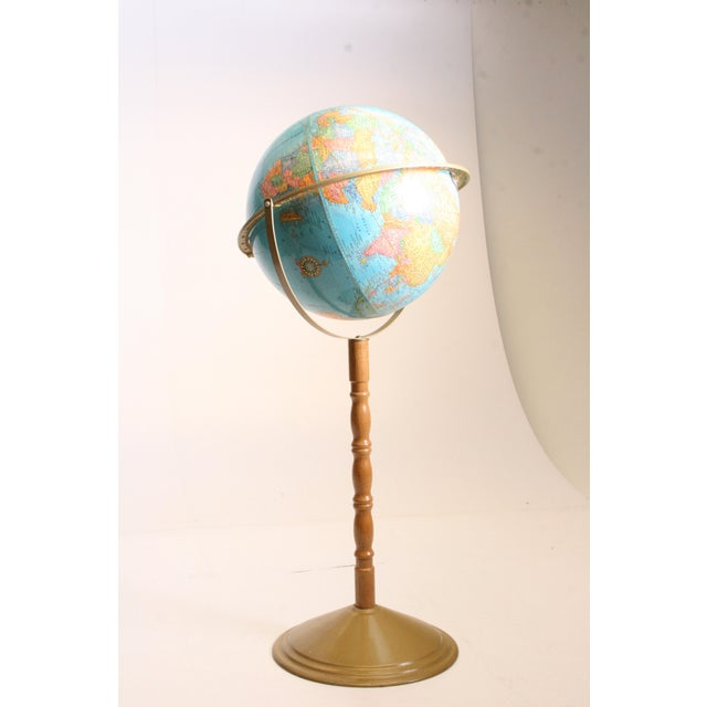 Vintage Revolving World Globe with Wood Pedestal Stand For Sale - Image 6 of 11