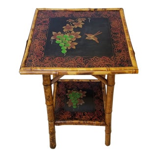 Victorian English Tortoise Bamboo Side Table For Sale