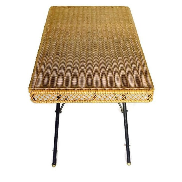Mid Century Modern Rattan Coffee Table / Side Table