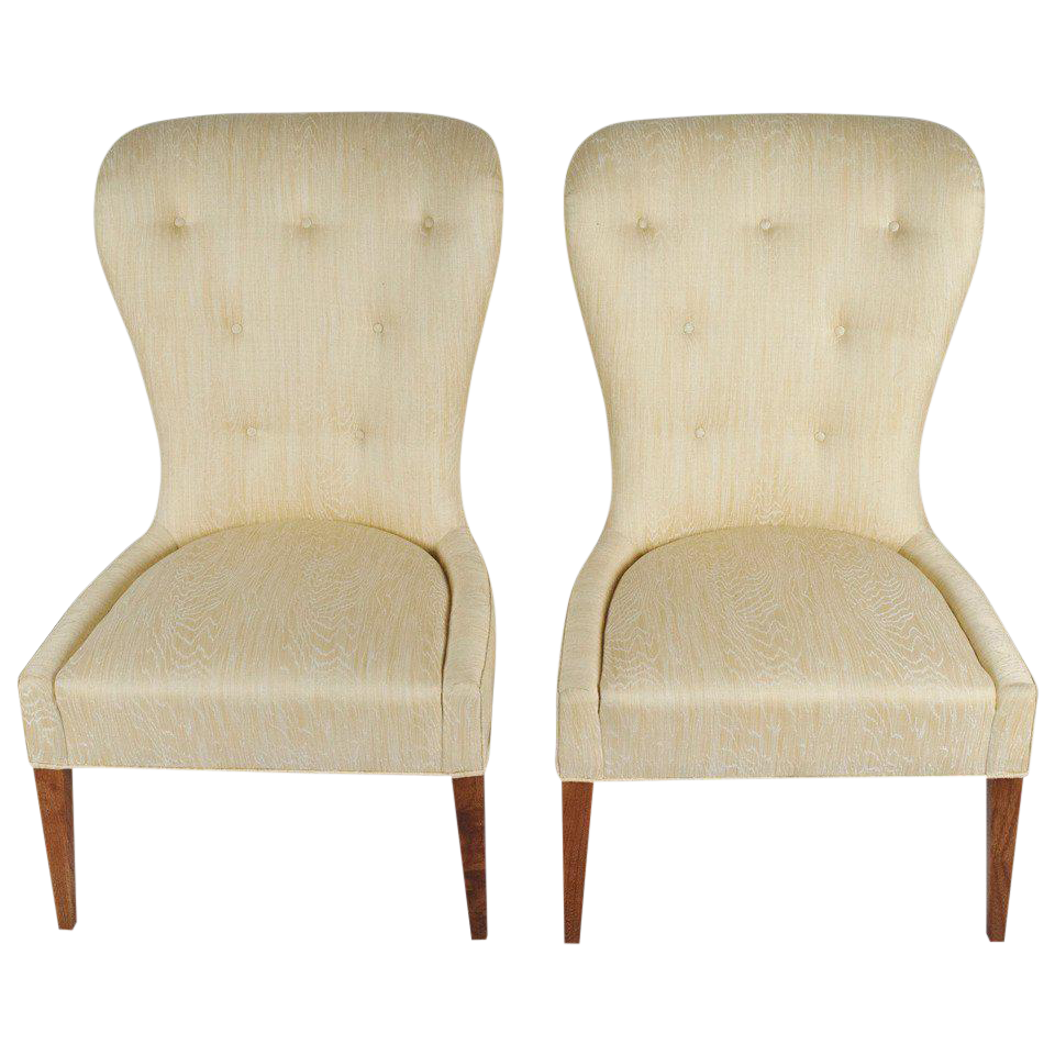 Superbe Pair Of Modern Balloon Back Chairs   Image 1 Of 6
