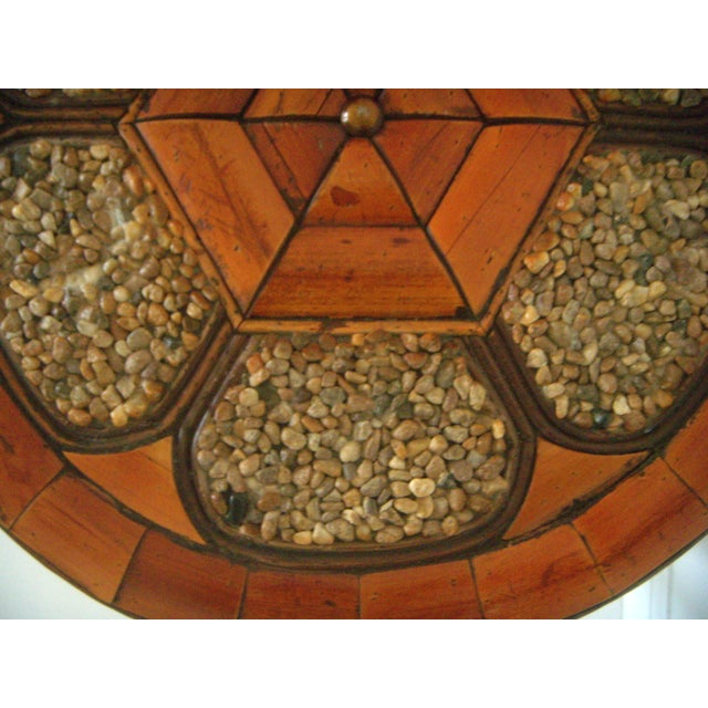 Vintage Mid Century Stone and Burnt Bamboo Round Drum Drinks or Side Table For Sale In Tampa - Image 6 of 6
