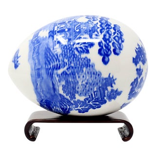Vintage Blue and White Ceramic Egg on Stand For Sale