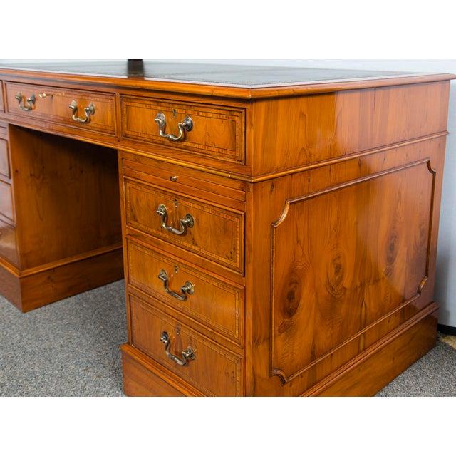 2020s English Traditional Myrtlewood Burled Walnut Kneehole Executive Desk For Sale - Image 5 of 9
