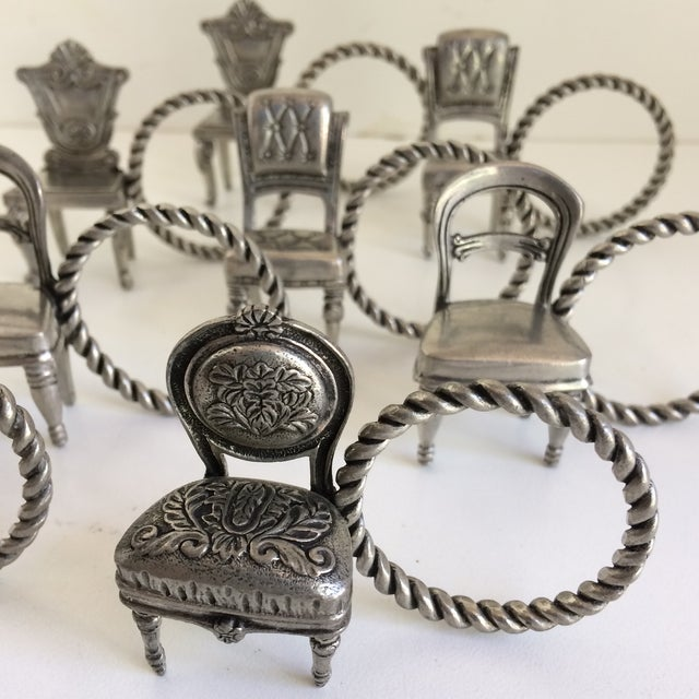 Again an other wonderful set of Pewter napkin rings in a Victorian chair style