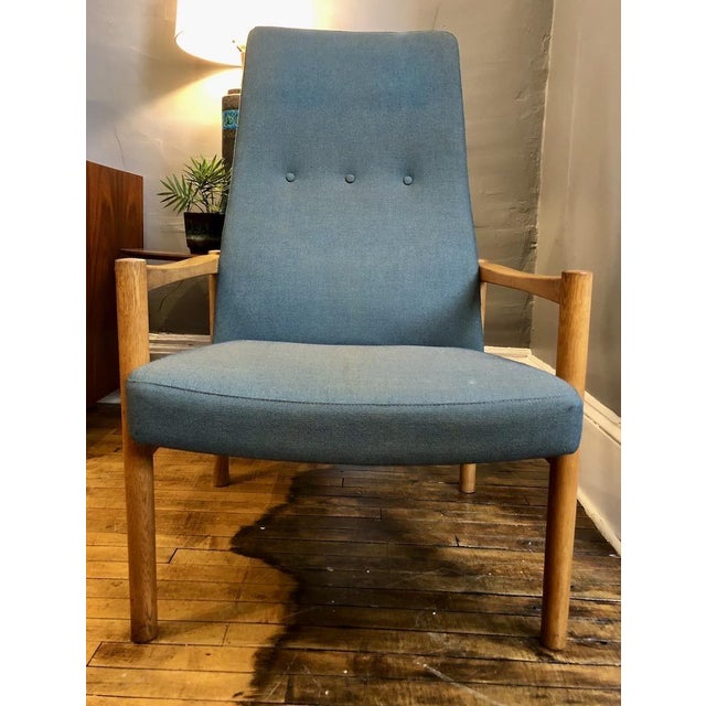 Vintage High-back Lounge Chair stamped Made in Sweden. Oak frame. Attributed to Folke Ohlsson for DUX. Very comfortable....
