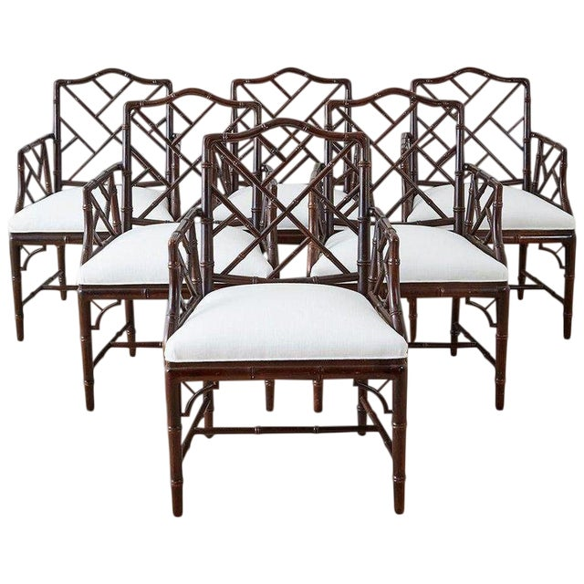 Chinese Chippendale Chocolate Lacquered Faux Bamboo Dining Chairs For Sale