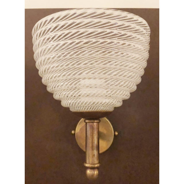 Italian Vintage Barovier E Toso Ribbed Murano Glass Sconces - a Pair For Sale - Image 3 of 10