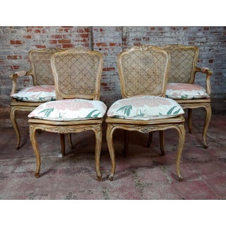 1940s Vintage French Provincial Carved Cane Armchairs & Chairs -Set of 4 Preview