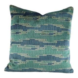 Groundworks Sora Velvet Aqua Blue & Schumacher Antique Linen Pillow Cover For Sale