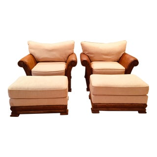 Tommy Bahama Style Solid Wood Upholstered Arm Chairs & Matching Ottomans - a Pair For Sale