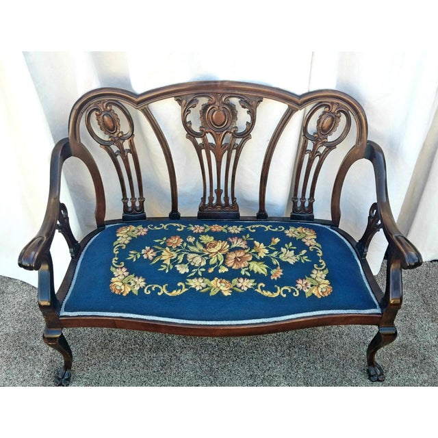 20th Century Chippendale Style Carved Mahogany Double Settee Bench For Sale - Image 9 of 9