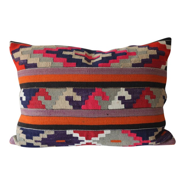Vintage Boho Turkish Kilim Pillow - Image 1 of 4