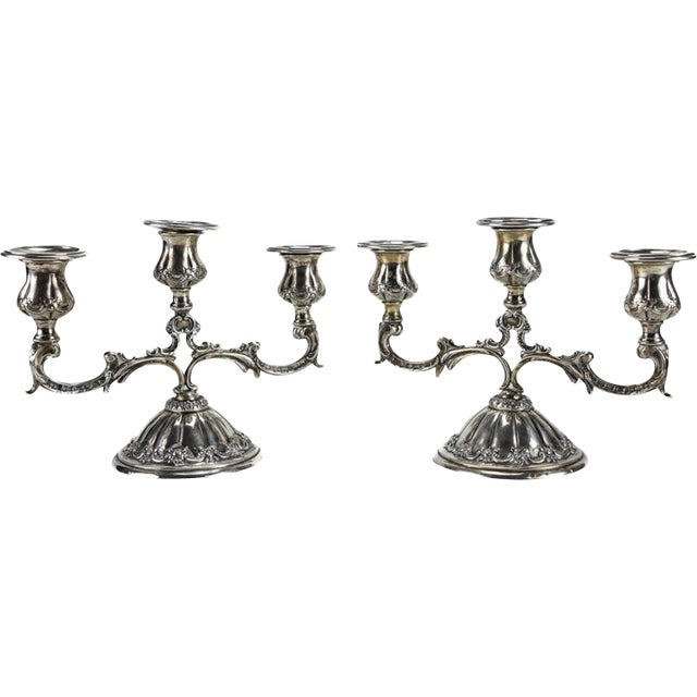 Pair Continental 800 Silver 3-Light Candelabras, Hand Chased Floral Swags - Image 2 of 6