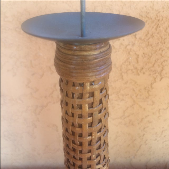 Mid Century Wooden Cane Wrapped Candlesticks - 2 - Image 3 of 5