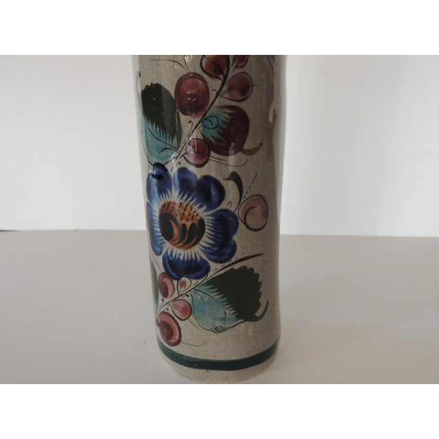 Mexican Talavera Blue and Grey Round Vase For Sale - Image 4 of 5