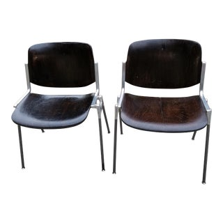 1950s Industrial Castelli Piretti Wood Stacking Conference Chairs - a Pair