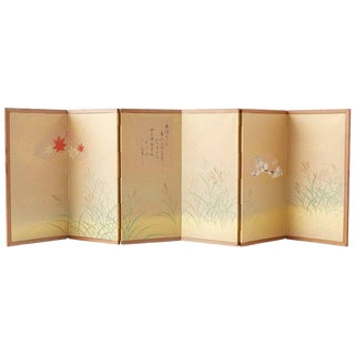 Japanese Miniature Six-Panel Screen Autumn Flowers and Grasses For Sale
