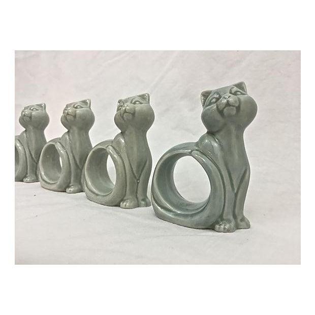 Ironstone Celadon Cats Napkin Rings - Set of 4 - Image 3 of 9